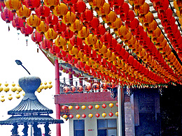 Orange and red lanterns at Chinese temple