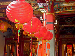 Public temple's red lanterns