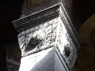 Column with lace carving (Photo by Eric Hadley-Ives)