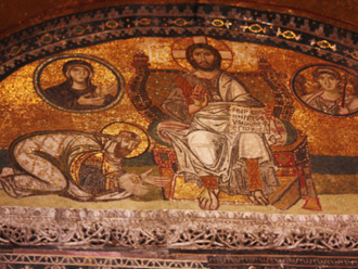 Mosaic tiles: During the Christian period, the church was covered with magnificent mosaic tiles, after Hagia Sophia was converted into a mosque, the majority of tiles on the wall or ceiling were eradicated and covered with plaster and replaced with Ottoman decorations(Photo by Eric Hadley-Ives)