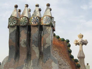 Chimneys and cross spire at Casa Batllo