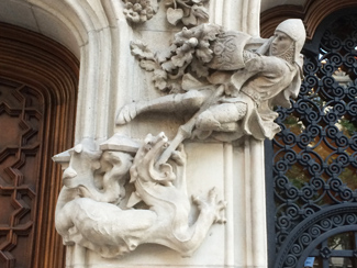 Saint George and the Dragon as architectural details