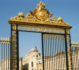 the gate into the grounds at the Palace of Versailles, photo by Virginia Ives