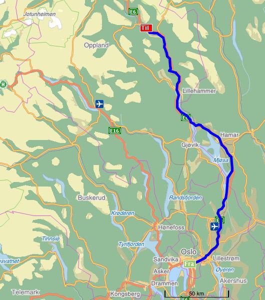 One Week Trip To Norway - Norway map hamar